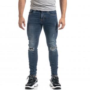 Ανδρικό μπλε τζιν με μπαλώματα Black-White Slim fit