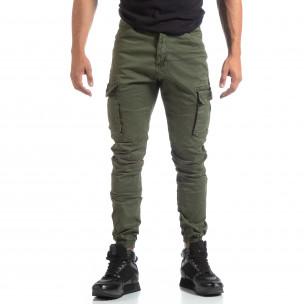 Ανδρικό πράσινο παντελόνι σε ροκ στυλ με Cargo τσέπες 2