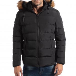 Ανδρικό μαύρο χειμωνιάτικο μπουφάν με επένδυση γούνα  2