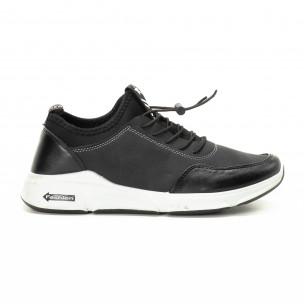 Ανδρικά μαύρα αθλητικά παπούτσια από συνδυασμό υφασμάτων
