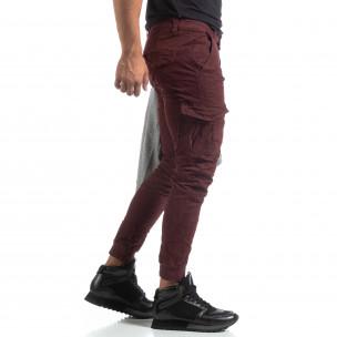 Ανδρικό μπορντό παντελόνι cargo τσαλακωμένο μοντέλο