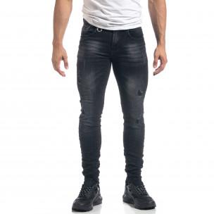 Ανδρικό μαύρο τζιν Slim fit με σκισίματα