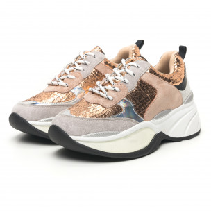 Γυναικεία χρυσά αθλητικά παπούτσια με χοντρή σόλα Shagreen design 2