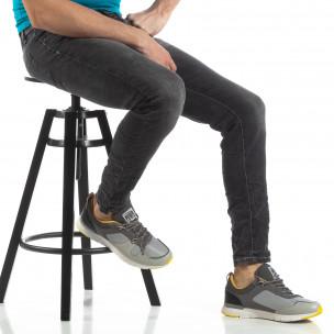 Ανδρικό σκούρο γκρι τζιν Washed Slim Jeans