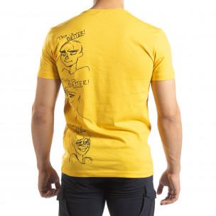 Ανδρική κίτρινη κοντομάνικη μπλούζα με πριντ  2