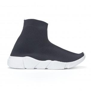 Γυναικεία  slip-on μαύρα αθλητικά παπούτσια τύπου κάλτσα