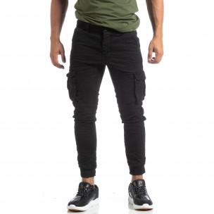 Ανδρικό μαύρο παντελόνι cargo τσαλακωμένο μοντέλο  2