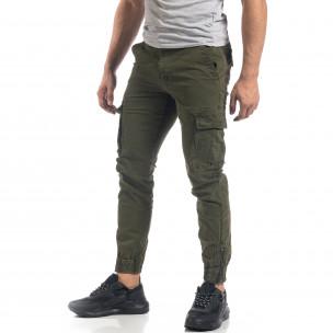 Ανδρικό πράσινο παντελόνι Cargo με φερμουάρ στο κάτω μέρος 2