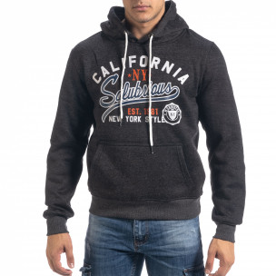 Ανδρικό μαύρο μελάνζ φούτερ California με τσέπη καγκουρό