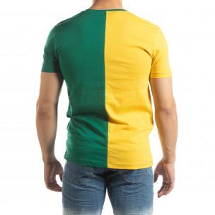 Ανδρική πράσινη-κίτρινη κοντομάνικη μπλούζα με πριντ  2