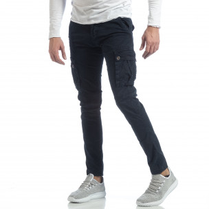 Ανδρικό μπλε παντελόνι με cargo τσέπες