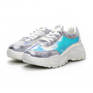 Γυναικεία γκρι Chunky αθλητικά παπούτσια με παγιέτες 2