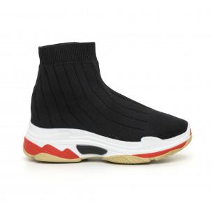 Γυναικεία μαύρα πλεκτά αθλητικά παπούτσια Slip-on
