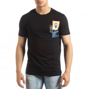 Ανδρική μαύρη κοντομάνικη μπλούζα με διακοσμητικά απλικέ