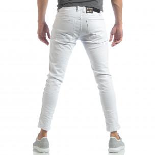 Ανδρικό λευκό Skinny τζιν με τσαλακωμένο εφέ 2