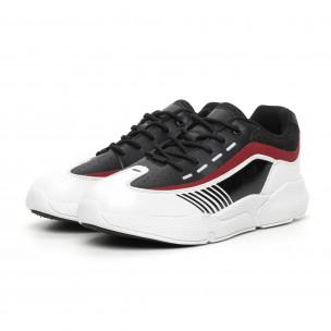 Ανδρικά μαύρα-λευκά αθλητικά παπούτσια με λεπτομέρειες από λουστρίνι 2