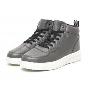 Ανδρικά γκρί ψηλά sneakers με Shagreen design  2