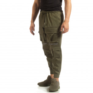 Cropped ανδρικό πράσινο παντελόνι με τσέπες  2