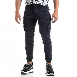 Ανδρικό μπλε παντελόνι με φερμουάρ στις τσέπες  2