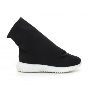 Γυναικεία μαύρα μποτάκια από νεοπρέν τύπου κάλτσα