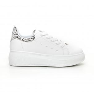 Γυναικεία λευκά sneakers με πλατφορμα και πριντ