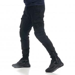 Ανδρικό μαύρο παντελόνι cargo με φλις J.Sette 2