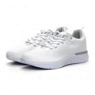 Ανδρικά λευκά πλεκτά αθλητικά παπούτσια  2