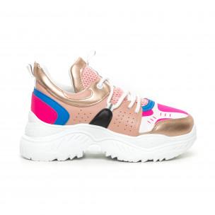 Γυναικεία Chunky αθλητικά παπούτσια ροζ και μπλέ