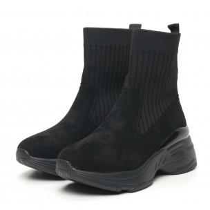 Γυναικεία μαύρα αθλητικά παπούτσια τύπου κάλτσα με χοντρή σόλα 2