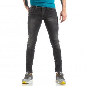 Ανδρικό σκούρο γκρι τζιν Washed Slim Jeans  2
