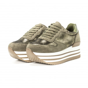 Γυναικεία πράσινα sneakers παραλλαγής με πλατφόρμα 2