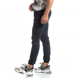 Ανδρικό μπλε παντελόνι σε ροκ στυλ με Cargo τσέπες