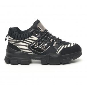 Γυναικεία αθλητικά παπουτσια τύπου Hiker σε μαύρο και ζέβρα Moom