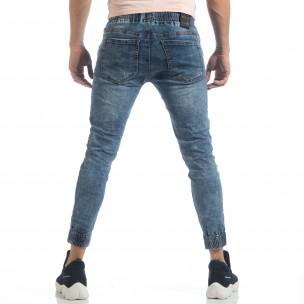 Ανδρικό γαλάζιο τζιν Skinny Jogger με τσαλακωμένε εφέ 2