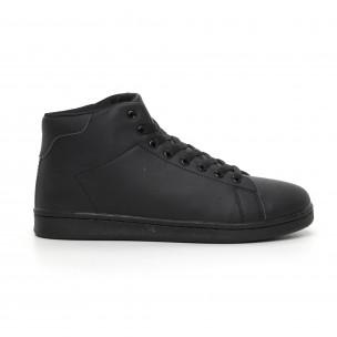 Ανδρικά μαύρα ματ ψηλά sneakers Basic