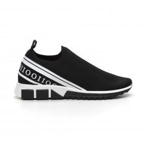 Slip-on ανδρικά μαύρα αθλητικά παπούτσια με λευκή ρίγα 2