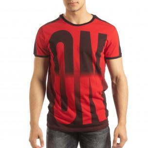 Ανδρική κόκκινη κοντομάνικη μπλούζα ON/OFF