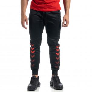 Ανδρική μαύρη Jogger με κόκκινες λεπτομέρειες 2