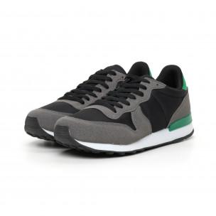 Ανδρικά αθλητικά παπούτσια ελαφρύ μοντέλο με πρασινή λεπτομέρεια  2