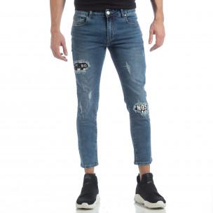 Ανδρικό γαλάζιο τζιν με μπαλώματα 2