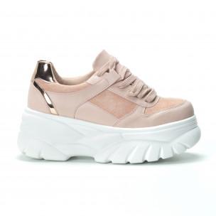 Chunky γυναικεία ροζ sneakers με πλατφόρμα  2