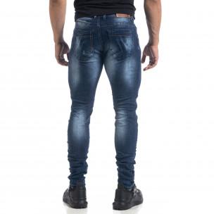 Ανδρικό μπλε τζιν με εφέ Fashion Slim fit  2