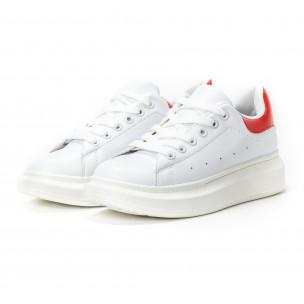 Γυναικεία λευκά sneakers με κόκκινη λεπτομέρεια  2