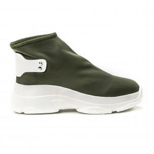 Γυναικεία πράσινα sneakers χωρίς κορδόνια