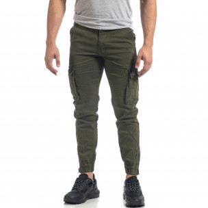 Ανδρικό πράσινο παντελόνι Cargo με φερμουάρ στο κάτω μέρος