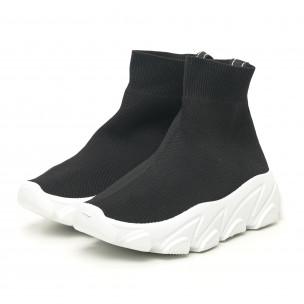 Γυναικεία μαύρα αθλητικά παπούτσια τύπου κάλτσα με λευκή σόλα 2