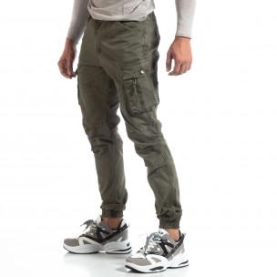 Ανδρικό πράσινο παντελόνι με φερμουάρ στις τσέπες