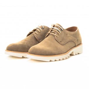 Casual ανδρικά μπεζ σουέτ παπούτσια   2