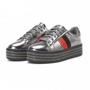 Γυναικεία ασημί sneakers με στρασάκια και πλατφόρμα  2