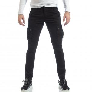 Ανδρικό μαύρο παντελόνι με cargo τσέπες